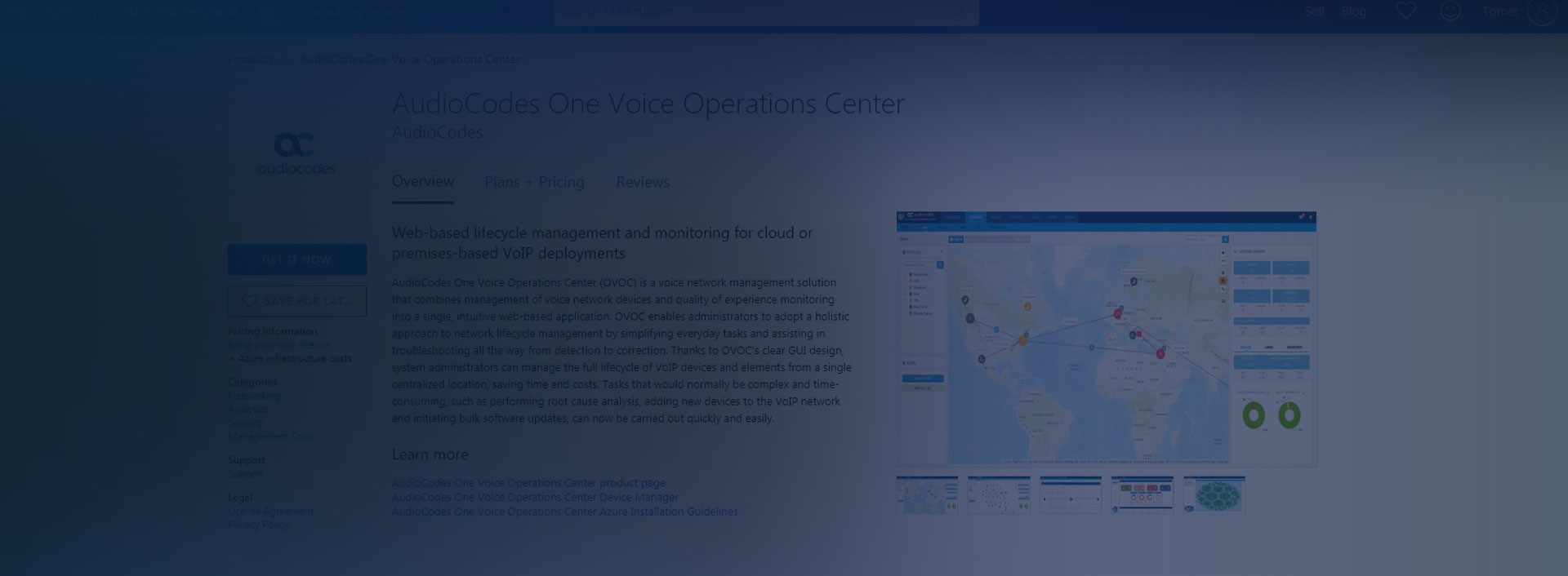 AudioCodes One Voice Operations Center is Now Available in the Microsoft Azure Marketplace